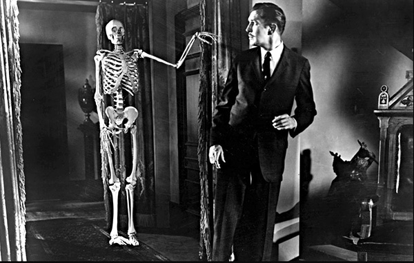 Vincent Price and the skeleton in House on Haunted Hill